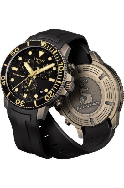 Tissot Seastar 1000 Quartz schwarz 45mm Herren Chronograph Taucheruhr Kautschuk-Armband T120.417.37.051.01