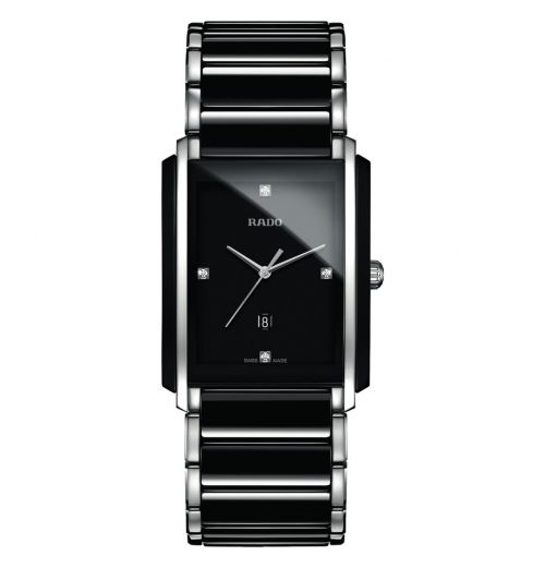 Rado Integral Diamonds L Herrenuhr Schwarz Silber Diamanten Keramik Quarz R20206712 | Uhren-Lounge