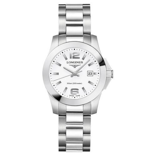 Longines Conquest Damenuhr 29,5mm Silber mit weißem Zifferblatt & Edelstahl-Armband Quarz L33764166