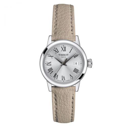 Tissot Classic Dream Damenuhr 28mm Quarz Silber Beige Leder-Armband T129.210.16.033.00