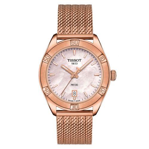 Tissot PR 100 Sport Chic Lady Rosegold Zifferblatt Rosa Perlmutt Milanaise-Armband T101.910.33.151.00 | Uhren-Lounge