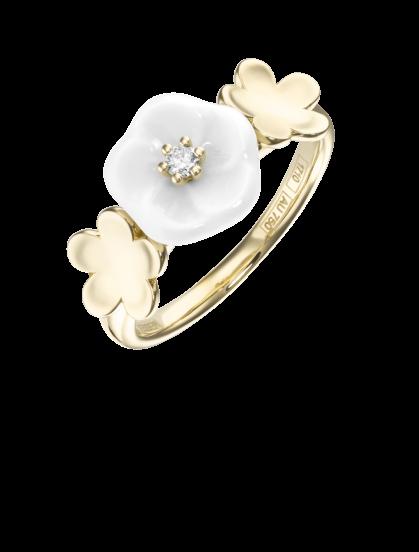 Meissen Ring Porzellan Gelbgold Diamant 3 Blüten 1739 Royal Blossom MPJ10BL38600