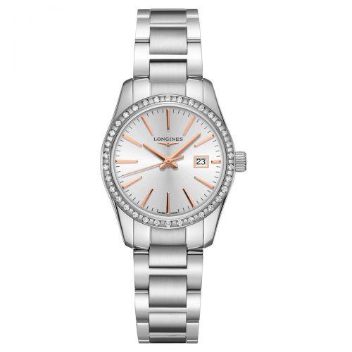 Longines Conquest Classic Damenuhr mit Diamanten 29,5mm Silber Edelstahl-Armband Quarz L2.286.0.72.6
