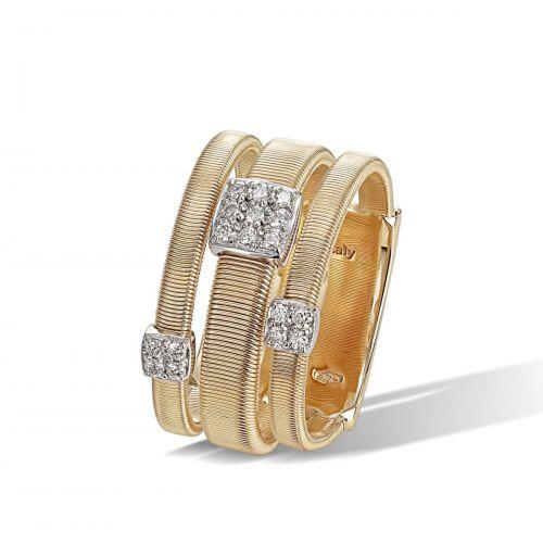Marco Bicego Masai Ring Gold mit Diamanten Paves 3 Stränge AG326 B1 YW