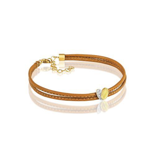 Luisa Rosas BE Leder-Armband mit Herz aus Gold mit Diamanten LRBE506