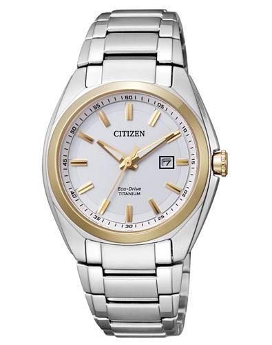 Citizen Damenuhr Bicolor Silber Gold Zifferblatt weiß 34mm Eco-Drive Super Titanium EW2214-52A