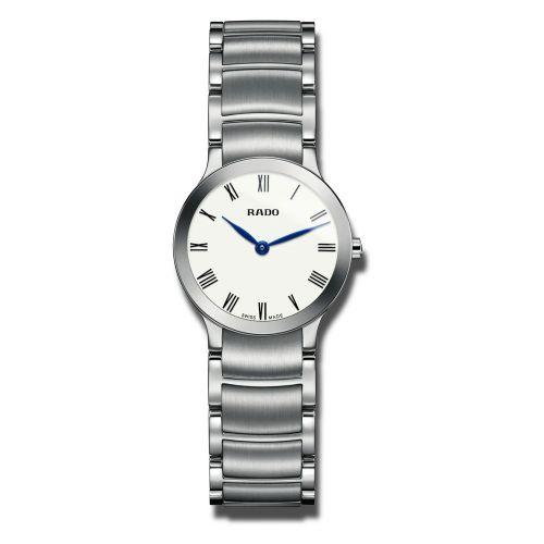 Rado Centrix Damenuhr XS Silber Zifferblatt Weiß mit römischen Ziffern Edelstahl-Armband Quarz R30185013