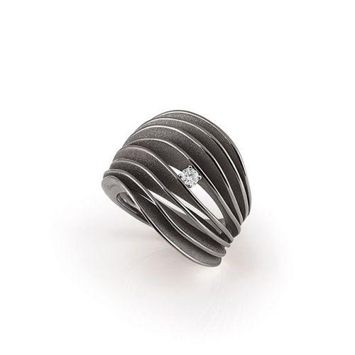 Annamaria Cammilli Velaa Ring mit Diamanten Schwarzgold Black Lava Gold 18 Karat GAN3151E