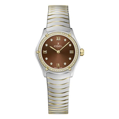 Ebel Sport Classic Mini Damenuhr mit Diamanten Bicolor Braun 24mm 1216443A | Uhren-Lounge
