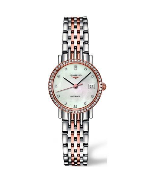 Longines Elegant Automatic Roségold Damenuhr mit 52 Diamanten L4.309.5.88.7