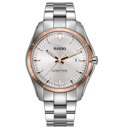 Rado HyperChrome XXL Silber Rosegold 45mm Edelstahl-Armband Quarz Herrenuhr R32502103 | Uhren-Lounge