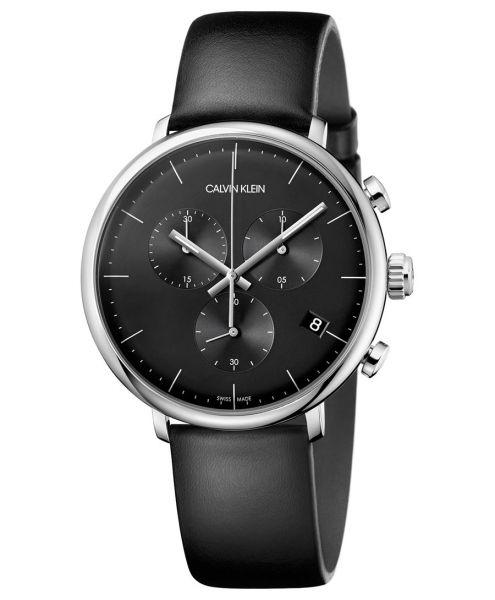 CALVIN KLEIN Uhr Herren High Noon Chronograph Quarz 43mm Silber Schwarz Leder-Armband K8M271C1 | Uhren-Lounge