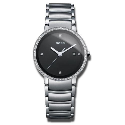 Rado Centrix S Jubilé Damenuhr mit Diamanten Silber mit schwarzem Zifferblatt R30933713