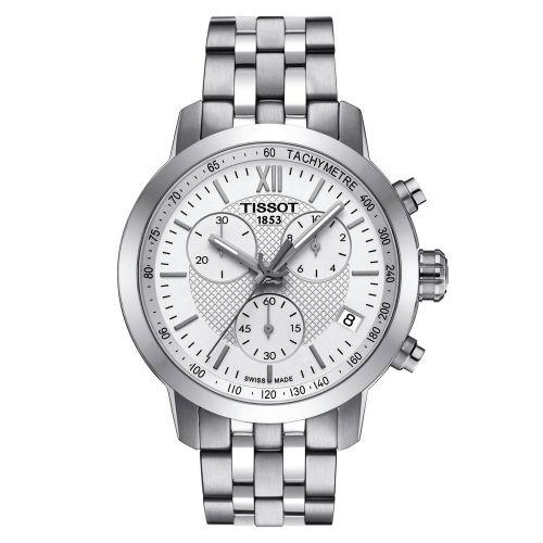 Tissot PRC 200 Fencing Chronograph 42mm Silber Weiß Edelstahl-Armband Quarz T055.417.11.018.00