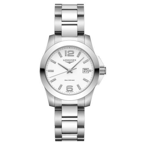 Longines Conquest Damenuhr 34mm mit weißem Zifferblatt Edelstahl-Armband Quarz L3.377.4.16.6