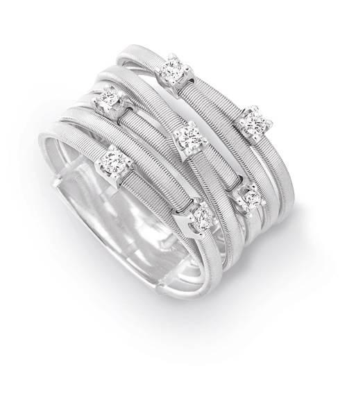 Marco Bicego Ring aus Weißgold 18 Karat mit Diamanten 7 Stränge Goa AG277-B Preis günstig online kaufen