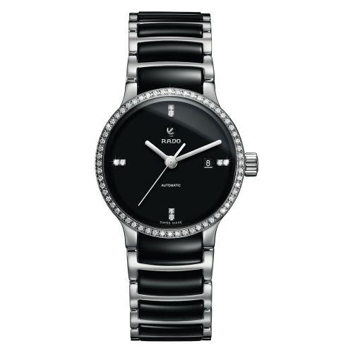 Rado Centrix Automatic Diamonds Jubile Damenuhr mit Diamanten Schwarz Silber Keramik 28mm R30160712