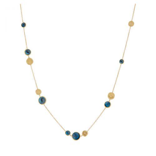 Marco Bicego Halskette Jaipur Gold mit blauen London Topas Edelsteinen CB1485 TPL01 Y