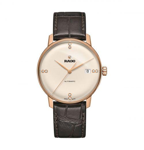 Rado Coupole Classic Automatic Diamonds Herrenuhr 38mm Rosegold Leder-Armband R22861765