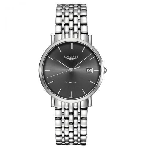 Longines Elegant Collection Damenuhr Automatik 37mm Silber Grau Edelstahl-Armband L4.810.4.72.6