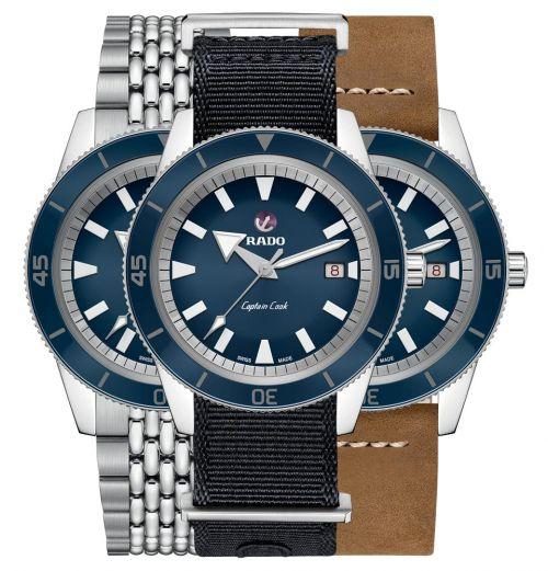 Rado Captain Cook Automatic 42mm Blau Herrenuhr 3 Wechsel-Armbänder-Set R32505208 | Uhren-Lounge