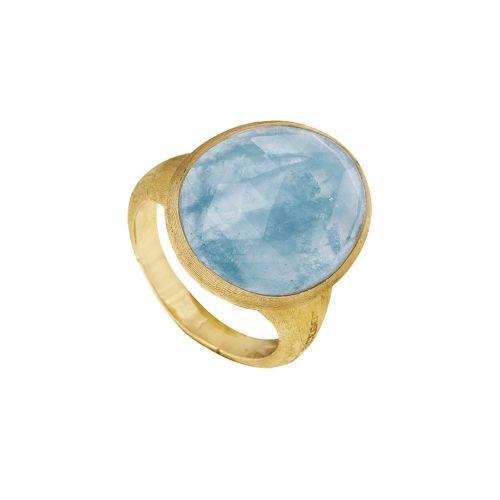 Marco Bicego Lunaria Ring Gold mit blauem Aquamarin Edelstein AB565 AQD Y