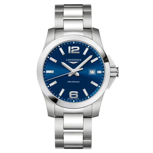 Longines Conquest Quarz 41mm mit blauem Zifferblatt & Edelstahl-Armband Herrenuhr L3.759.4.96.6