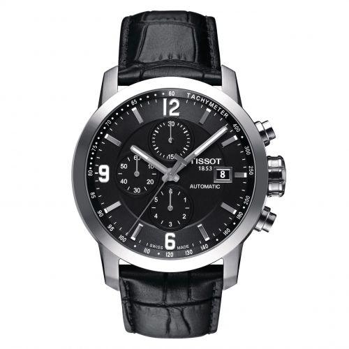 Tissot PRC 200 Automatic Chronograph 44mm Silber Schwarz Leder-Armband Herrenuhr T055.427.16.057.00