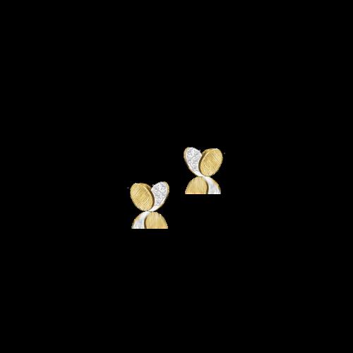 Luisa Rosas BE Heart Ohrringe Gold mit Diamanten Herz Ohrstecker 18 Karat LRBE138