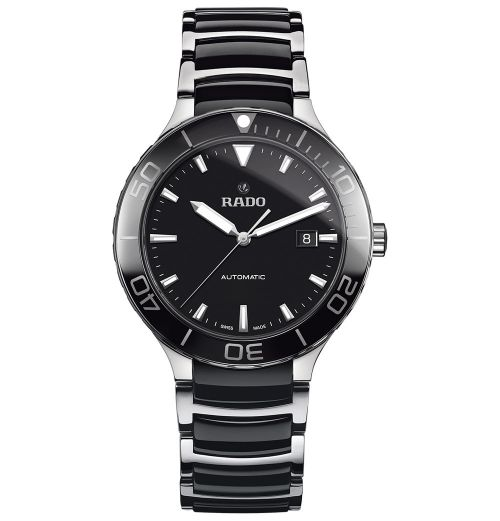 Rado Centrix Automatic XL Herrenuhr Schwarz Silber Bicolor Keramik-Armband 42mm R30002162