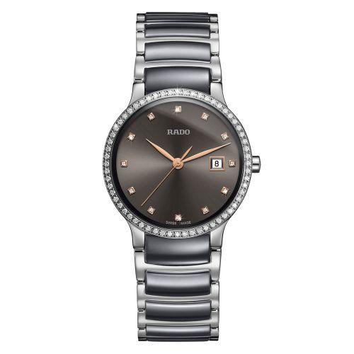 Rado Centrix Diamonds Damenuhr mit Diamanten Silber Grau 28mm Jubile R30936732