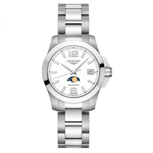 Longines Conquest Mondphase Damenuhr 34mm Weiß Edelstahl-Armband Quarz L3.381.4.16.6