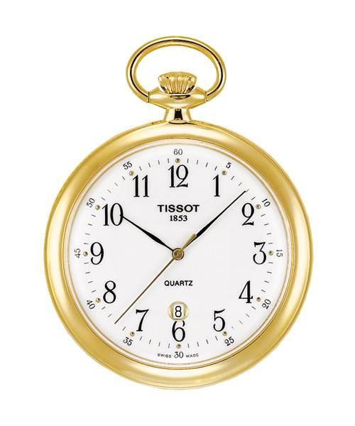 Tissot Taschenuhr Quarz Gold-farbenes Messing Zifferblatt weiß mit Arabischen Ziffern mit Kette Lepine T82.4.550.12