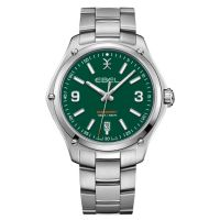 Ebel Uhr Herren Silber Zifferblatt grün Edelstahl-Armband 41mm Quarz Discovery Gent Sport 1216421