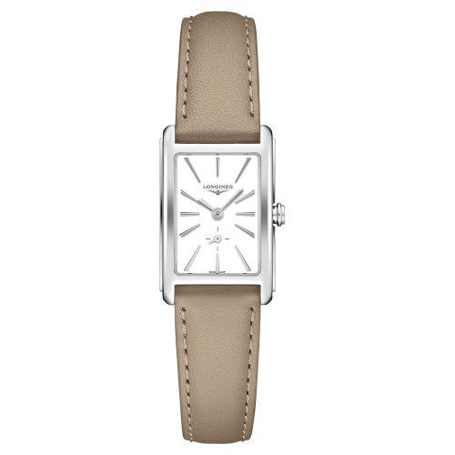 Longines DolceVita Damenuhr mit weißem Zifferblatt & beigem Leder-Armband 32mm Quarz L5.255.4.11.7