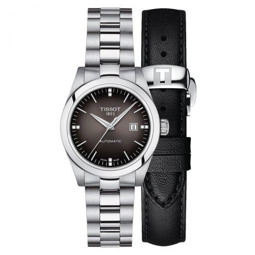 Tissot T-My Lady Automatic Damenuhr Diamanten Anthrazit Edelstahl & Leder-Armband T132.007.11.066.00