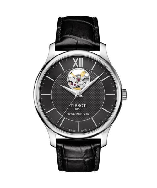 Tissot Tradition Herrenuhr Automatik Powermatic 80 Open Heart 40 mm mit schwarzem Zifferblatt & Leder-Armband T063.907.16.058.00