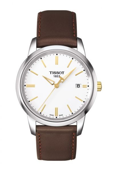Tissot Classic Dream Herrenuhr silber Zifferblatt weiß Lederarmband braun T033.410.26.011.00