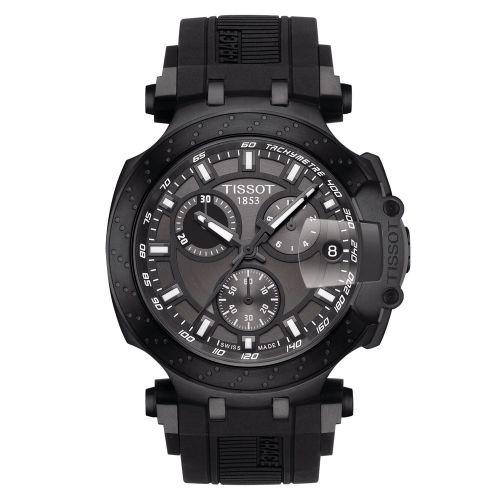 Tissot T-Race Chronograph Schwarz Kautschuk-Armband Herrenuhr Quarz 43mm T115.417.37.061.03