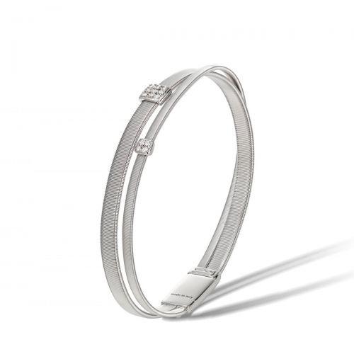 Marco Bicego Armreif Weißgold mit Diamanten Paves 2 Stränge Masai Armband BG732 B W
