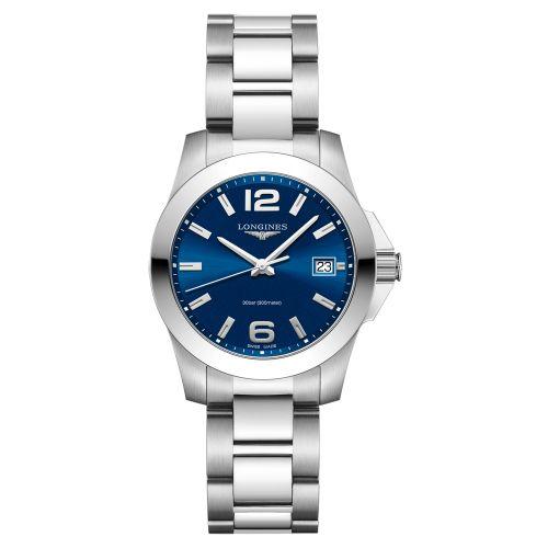 Longines Conquest Damenuhr 34mm Blau Silber Edelstahl-Armband Quarz L3.377.4.96.6