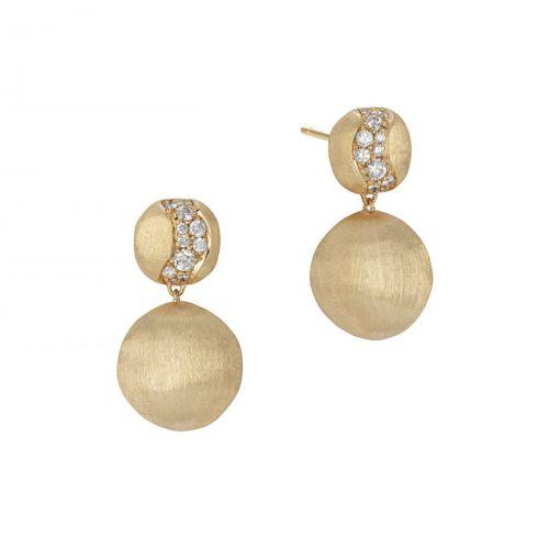 Marco Bicego Ohrringe Africa Gold mit Diamanten Pave Ohrhänger OB1590 B Y