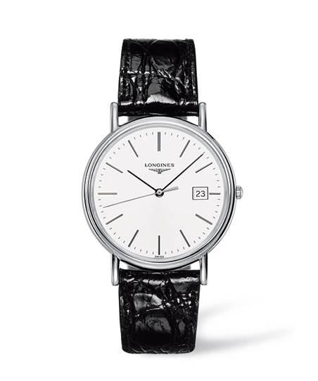 Longines Presence Herrenuhr 38mm Silbern mit weißem Zifferblatt & schwarzem Leder-Armband Quarz L4.790.4.12.2