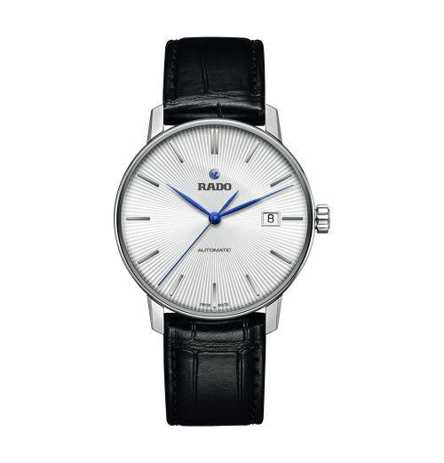 Rado Coupole Classic Automatic L Herrenuhr mit weißem Zifferblatt & schwarzem Leder-Armband R22860045