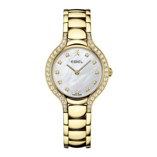 Ebel Uhr Gold mit Diamanten weißes Perlmutt-Zifferblatt Quarz 28mm Ebel Beluga 1216468 | Uhren-Lounge