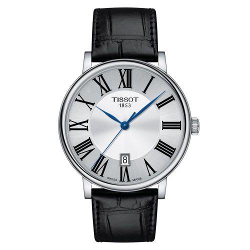 Tissot Carson Premium Silber Leder-Armband Schwarz Herrenuhr 40mm Quarz T122.410.16.033.00