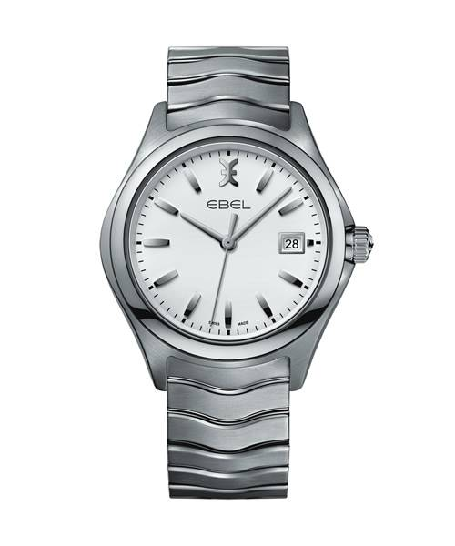 Ebel Uhr Herren 40mm silber Zifferblatt weiß Edelstahl-Armband Quarz Wave Gent 1216201