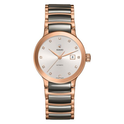 Rado Centrix Automatic Diamonds S Jubile Damenuhr Rosegold Grau 28mm R30183762