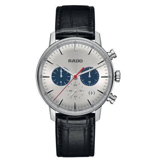 Rado Coupole Classic Chronograph XL Quarz Herren 42mm Silber mit schwarzem Leder-Armband R22910115 | Uhren-Lounge