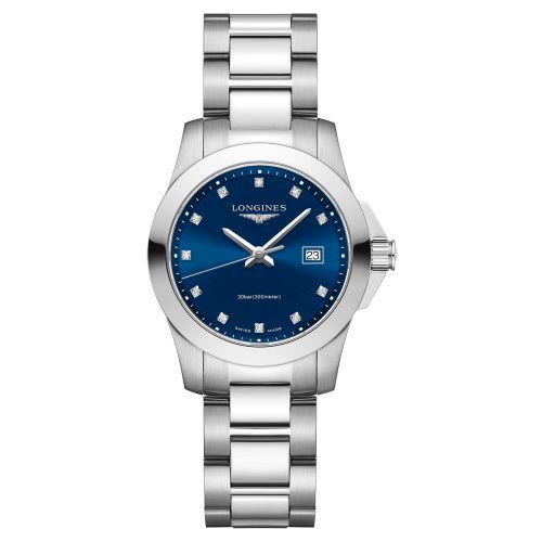 Longines Conquest Damenuhr mit Diamanten & blauem Zifferblatt 29,5mm Quarz L33764976